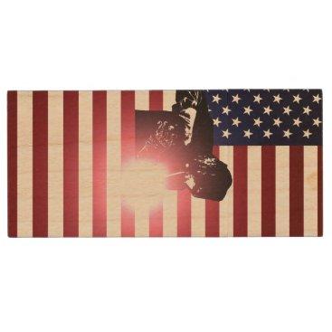 Welder & American Flag Wood Flash Drive