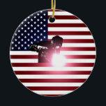 "Welder and American Flag Ceramic Ornament<br><div class=""desc"">Welder and American Flag</div>"