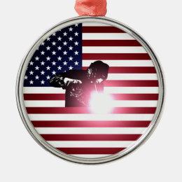 Welder and American Flag Metal Ornament