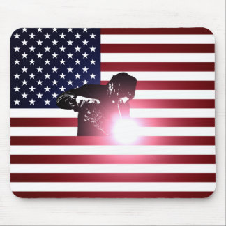 Welder and American Flag Mouse Pad