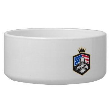USA Themed Welder Arc Welding USA Flag Crest Retro Bowl