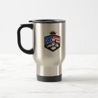 Welder Arc Welding USA Flag Crest Retro Travel Mug