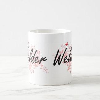 Welder Artistic Job Design with Butterflies Coffee Mug