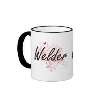 Welder Artistic Job Design with Butterflies Ringer Mug