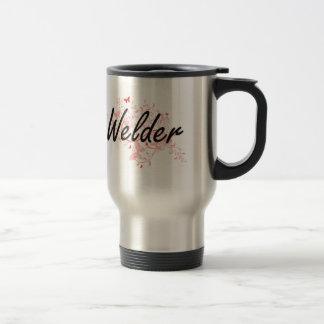 Welder Artistic Job Design with Butterflies Travel Mug