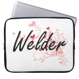Welder Artistic Job Design with Hearts Laptop Sleeve