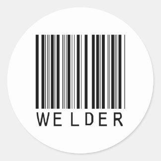 Welder Bar Code Classic Round Sticker
