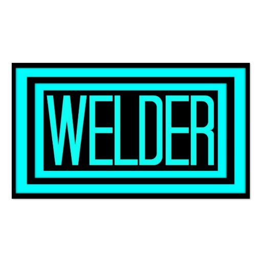 Welder Black And Teal Matted Frame Business Card Zazzle