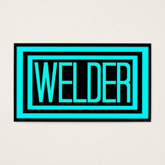 Welder Black and Teal Matted Frame Business Card