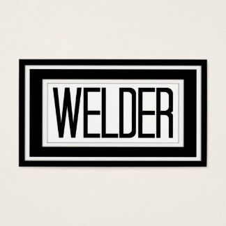 Welder Black and White Matted Frame Business Card