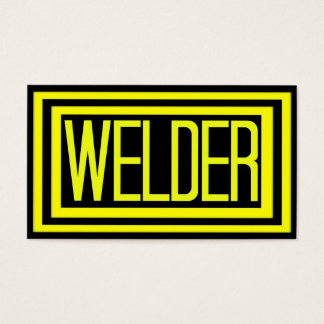 Welder Black and Yellow Matted Frame Business Card