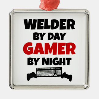 Welder by Day Gamer by Night Square Metal Christmas Ornament