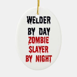 Welder By Day Zombie Slayer By Night Double-Sided Oval Ceramic Christmas Ornament