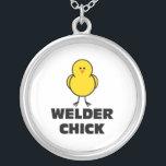 "Welder Chick Silver Plated Necklace<br><div class=""desc"">Welder Chick Design</div>"