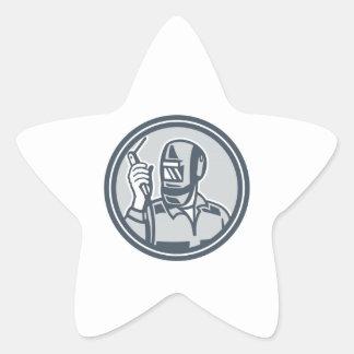 Welder Fabricator Holding Welding Torch Retro Sticker