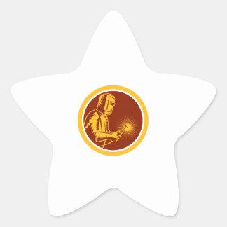Welder Holding Welding Torch Shield Retro Star Sticker