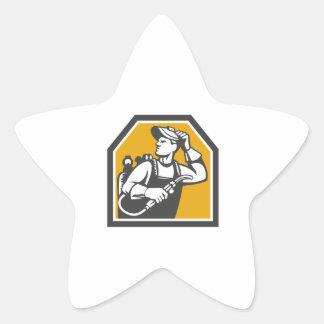 Welder Holding Welding Torch Woodcut Retro Star Sticker