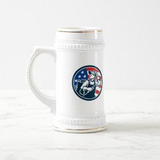 Welder Looking Side USA Flag Circle Retro Beer Stein