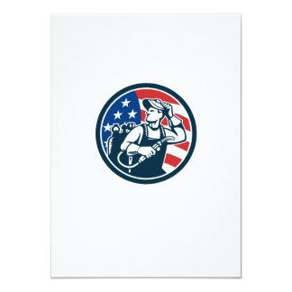 Welder Looking Side USA Flag Circle Retro Card