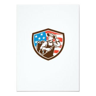 Welder Looking Side USA Flag Crest Retro Card