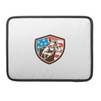 Welder Looking Side USA Flag Crest Retro Sleeve For MacBook Pro