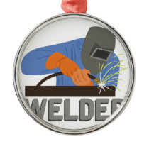 Welder Metal Ornament