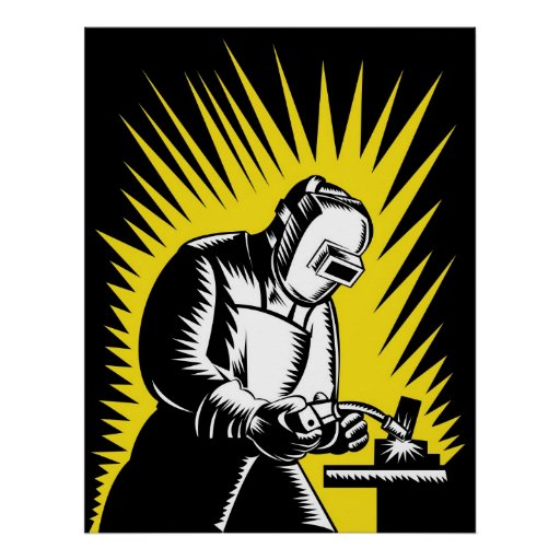 Welder Metal Worker Welding Retro Poster