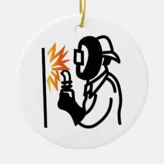 Welder Outline Ceramic Ornament