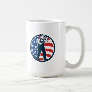 Welder Standing Visor Up USA Flag Circle Retro Coffee Mug