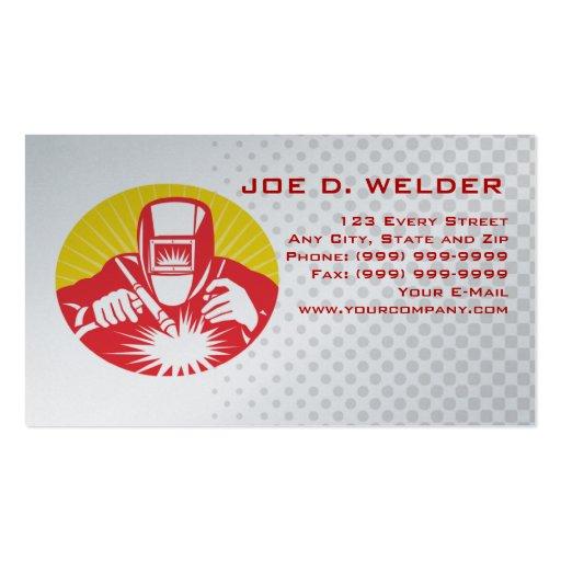 Welder welding at work business card for Welder business cards