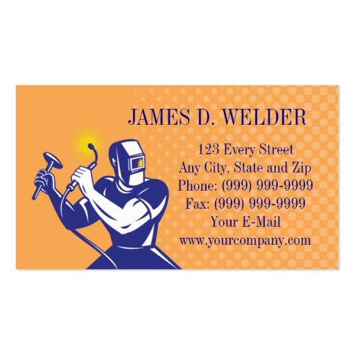 Welder welding at work business card zazzle for Welder business cards