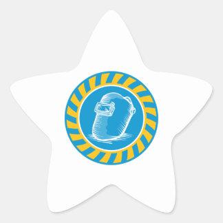 Welder Welding Helmet Retro Star Stickers
