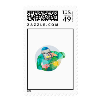 Welder Welding Mask Circle Low Polygon Postage Stamps