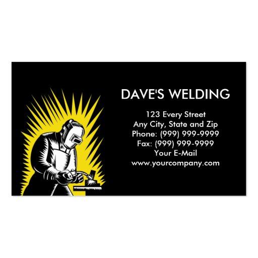 Welder welding woodcut business card templates zazzle for Welding business card ideas