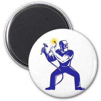 welder welding  worker cartoon fridge magnets