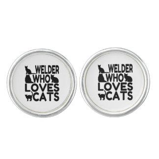 Welder Who Loves Cats Cufflinks