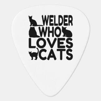 Welder Who Loves Cats Guitar Pick