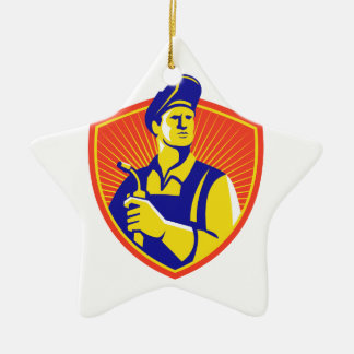 Welder With Welding Torch Shield Retro Double-Sided Star Ceramic Christmas Ornament