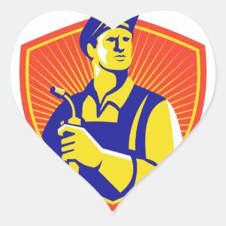 Welder With Welding Torch Shield Retro Heart Sticker