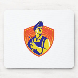 Welder With Welding Torch Shield Retro Mouse Pad