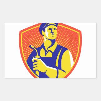 Welder With Welding Torch Shield Retro Rectangular Sticker