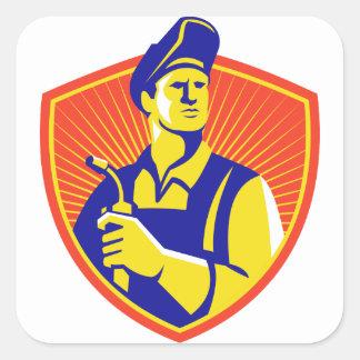Welder With Welding Torch Shield Retro Square Sticker