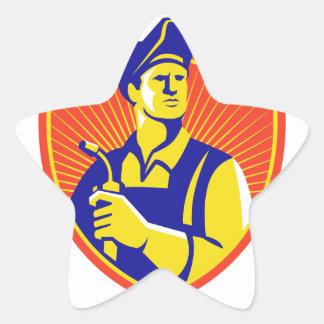 Welder With Welding Torch Shield Retro Sticker