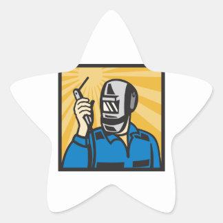 Welder With Welding Torch Visor Retro Sticker