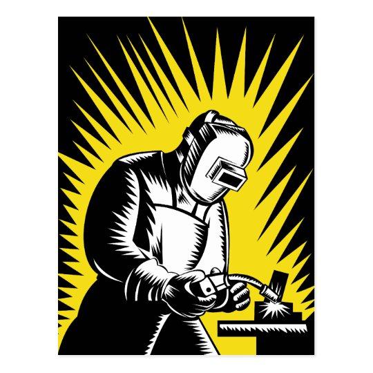 welder worker welding postcard