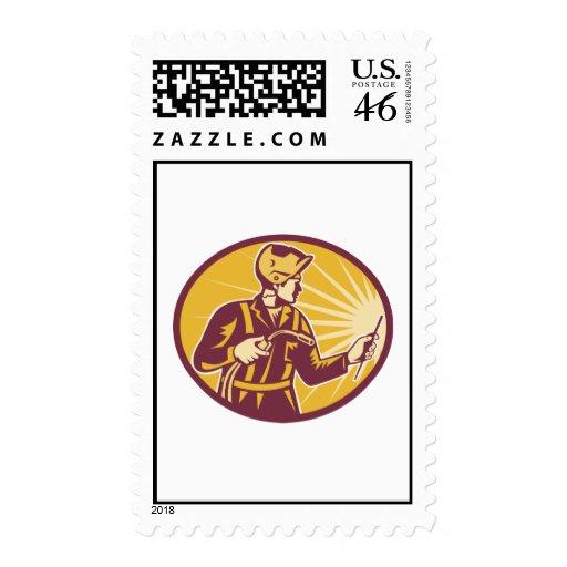 Welder Worker Welding Torch Retro Stamps