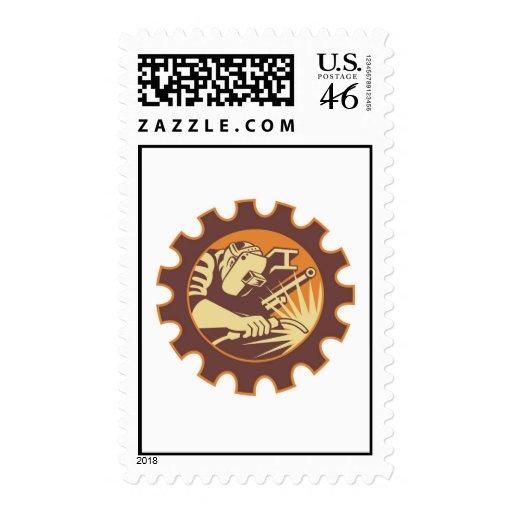 Welder Worker Welding Torch Retro Stamp
