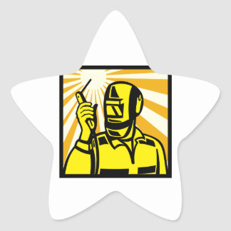 Welder Worker Welding Torch Retro Star Sticker