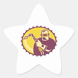Welder Worker Welding Torch Retro Star Stickers