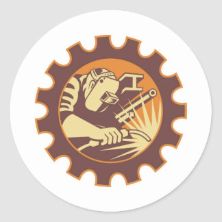Welder Worker Welding Torch Retro Stickers